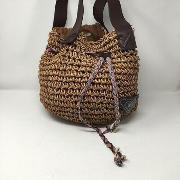 Roxy large straw and braided leather shoulder bag